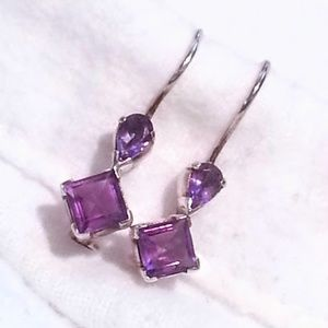 Artisan made amethyst sterling dangle earrings